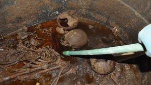 Жидкость и скелеты в чёрном саркофаге